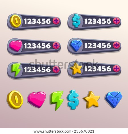 Cartoon resources icons, bright stone game elements - stock vector