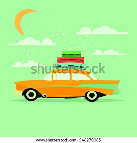 Cartoon retro car with Luggage on the roof. A trip or vacation. Vector.