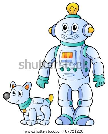 Cartoon retro robot 2 - vector illustration. - stock vector
