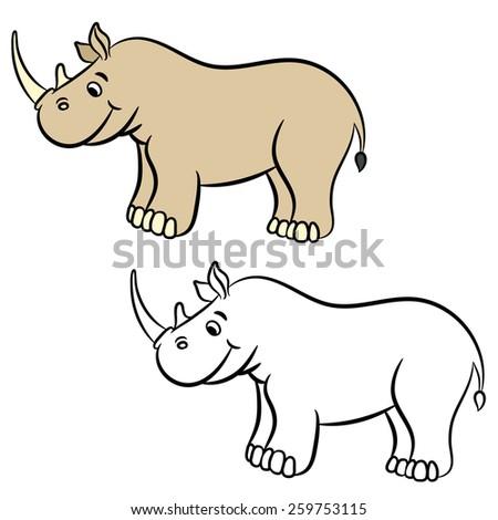 Cartoon rhino. Coloring book. Vector illustration. - stock vector