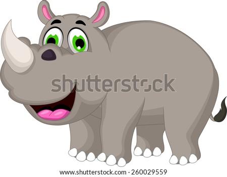 Cartoon rhino for you design - stock vector