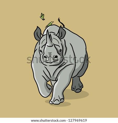 Cartoon Rhino - vector illustration - stock vector