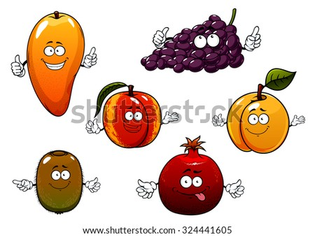 Cartoon ripe purple grape, tropical mango and kiwi, peach, apricot and pomegranate fruits. For dessert or agriculture themes - stock vector