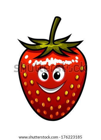 Cartoon ripe red happy smiling fresh strawberry logo with a stalk and googly eyes suitable for kids isolated on white