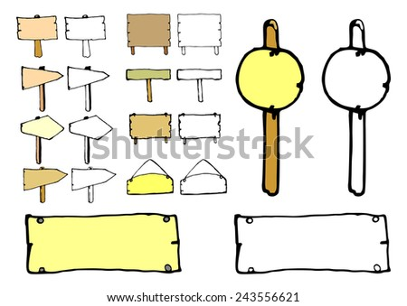 Cartoon road signs. Vector coloring page without gradients. - stock vector