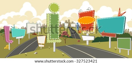 Cartoon road with billboards. Ad signs. - stock vector