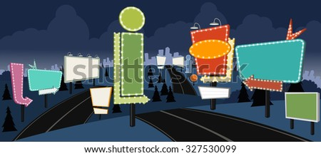 Cartoon road with billboards at night. Ad signs. - stock vector