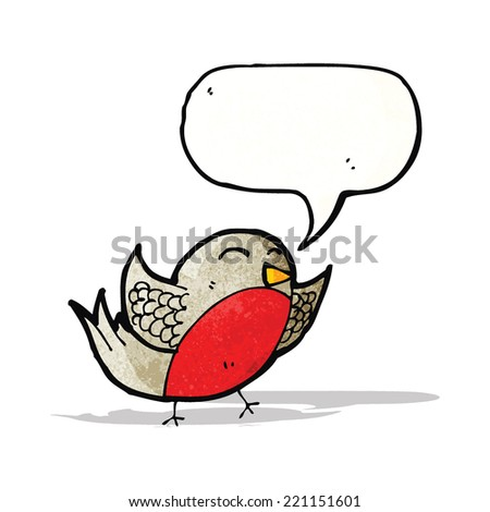 cartoon robin with thought bubble - stock vector