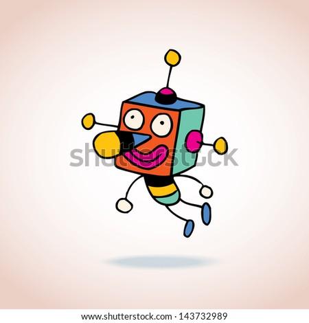 cartoon robot character - stock vector