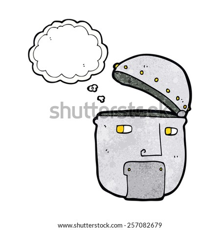 cartoon robot head with thought bubble - stock vector