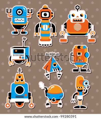 cartoon robot sticers - stock vector