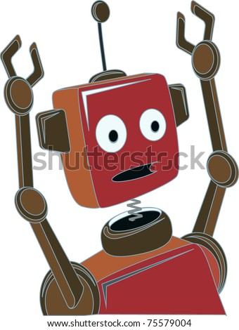 Cartoon Robot surprised expression raised claw arms - stock vector
