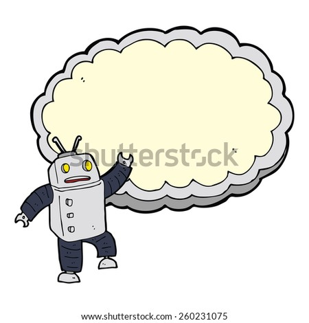 cartoon robot with space for text cloud - stock vector