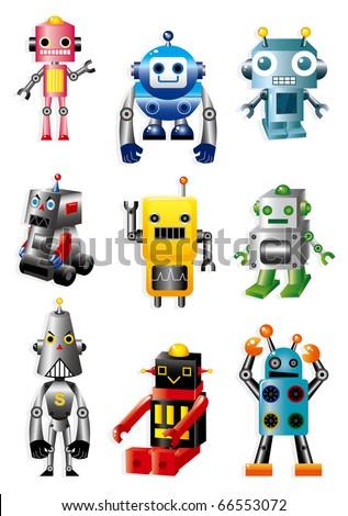 cartoon robots - stock vector