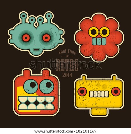 Cartoon robots and monsters faces in color. Vector illustration  - stock vector