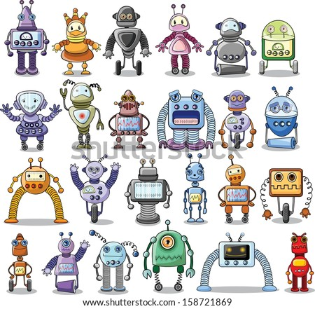 Cartoon robots set - vector