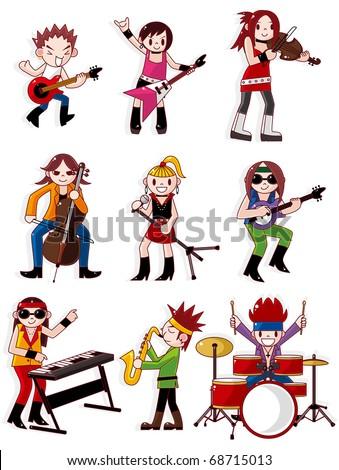 cartoon rock band icon - stock vector