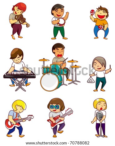 cartoon rock band icon - stock vector