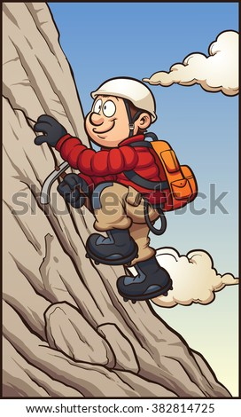 Cartoon rock climber. Vector clip art illustration with simple gradients. Character,mountain, sky and clouds on separate layers. - stock vector