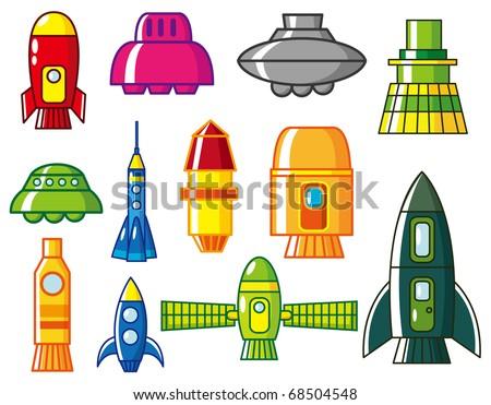 cartoon rocket  icon - stock vector
