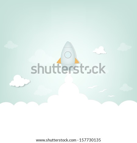 cartoon rocket launch - stock vector