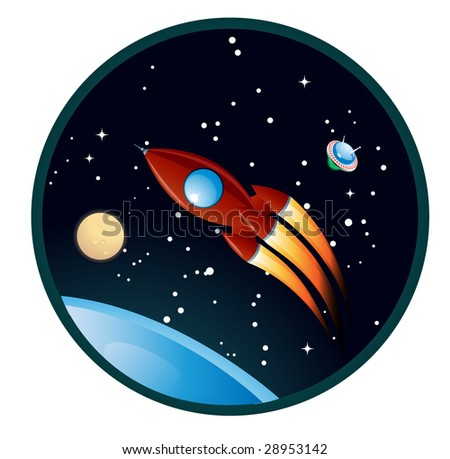 cartoon rocket over the blue planet