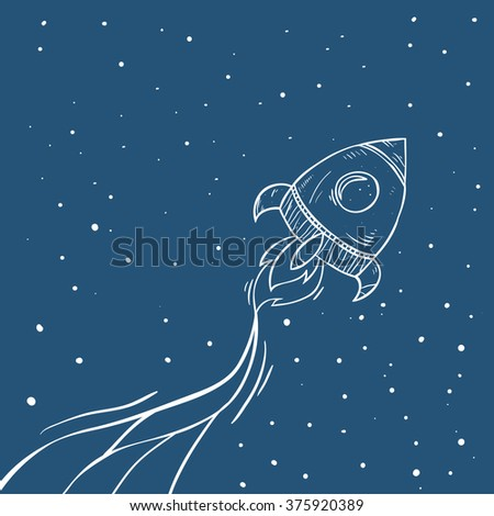 cartoon rocket. Spaceship illustration with space for your text in cartoon style. cartoon spaceship icons. Kid's elements for scrap-booking. Childish background. Hand drawn vector illustration. - stock vector