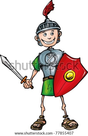 Cartoon Roman legionary with sword and shield. Isolated on white