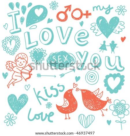 Cartoon romantic background - stock vector