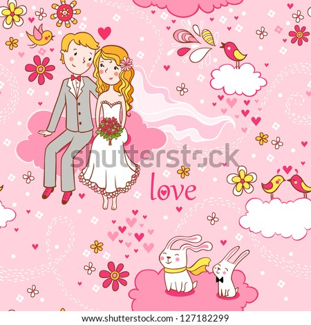 Cartoon romantic seamless pattern in vector. Wedding invitation. Background with a boy and a girl sitting on a cloud. - stock vector