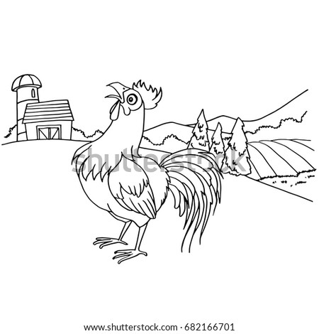 cartoon rooster coloring page vector - Rooster Coloring Page