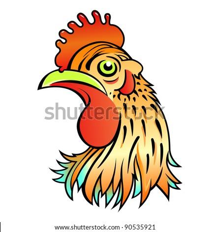 cartoon rooster head - stock vector