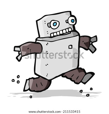 cartoon running robot - stock vector