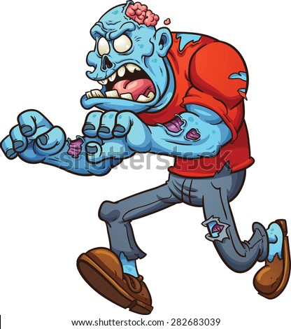Cartoon running zombie. Vector clip art illustration with simple gradients. All in single layer. - stock vector