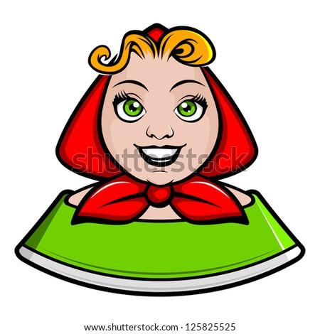 cartoon rural girl. vector illustration - stock vector