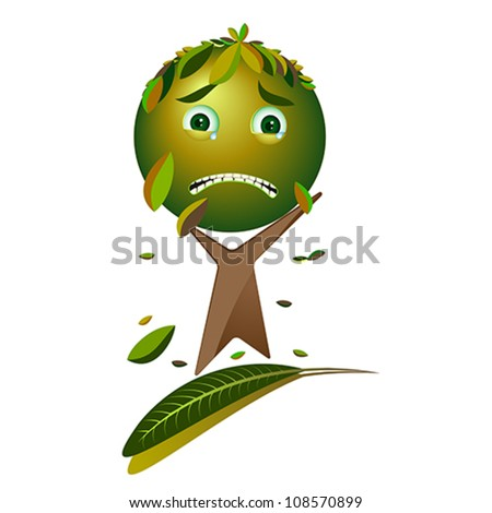 Cartoon sad tree - Please, save the earth, vector - stock vector