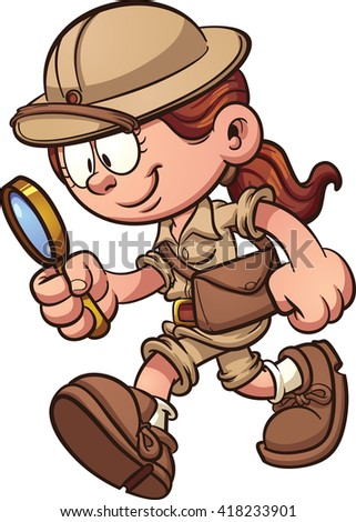 Cartoon safari girl looking through a magnifying glass. Vector clip art illustration with simple gradients. All in a single layer.