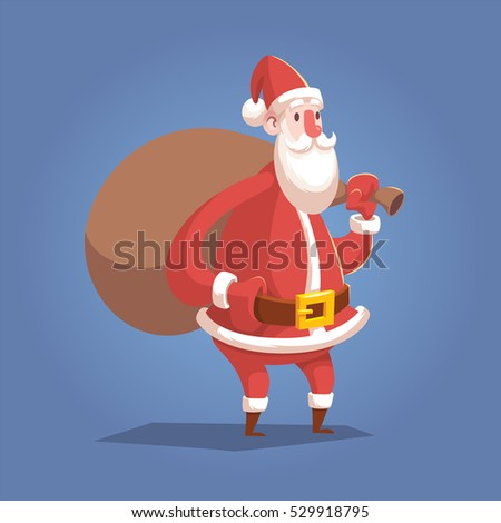 Cartoon Santa Claus character with bag of christmas presents isolated modern flat style vector illustration. Christmas design element.