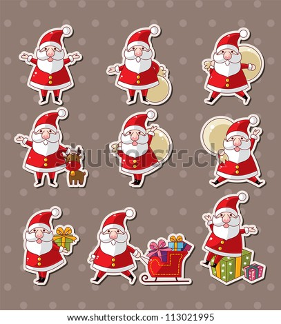 cartoon santa claus Christmas stickers - stock vector