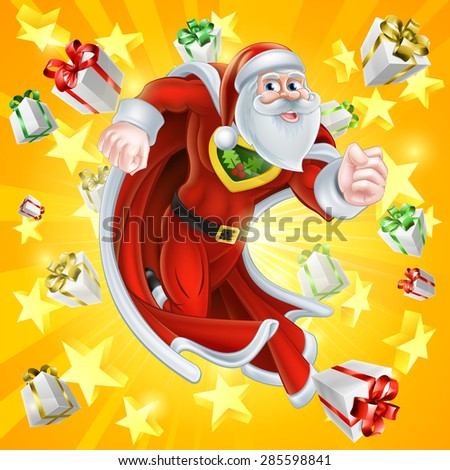 Cartoon Santa Claus Christmas superhero character - stock vector