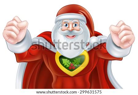 Cartoon Santa Claus Christmas superhero character - stock vector