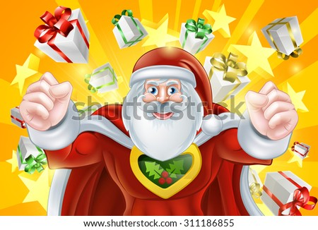 Cartoon Santa Claus Christmas superhero character with presents and stars in the background - stock vector