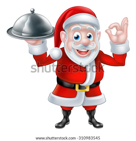 Cartoon Santa Claus holding a plate of food or silver platter cloche and giving a perfect or okay hand gesture - stock vector