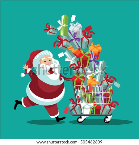 Cartoon Santa Claus pushing a Christmas shopping cart overflowing with tumbling gifts. EPS 10 vector.