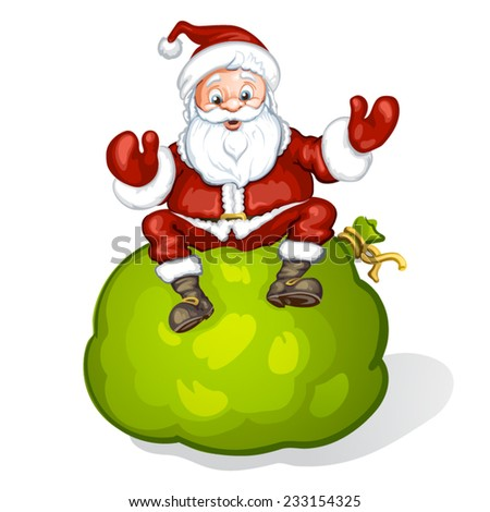 Cartoon Santa Claus smiling and sitting on bag - stock vector