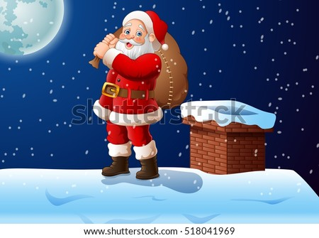 Cartoon Santa claus standing on the roof top carrying a big bag