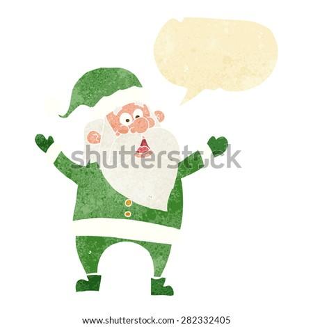 cartoon santa claus with speech bubble - stock vector