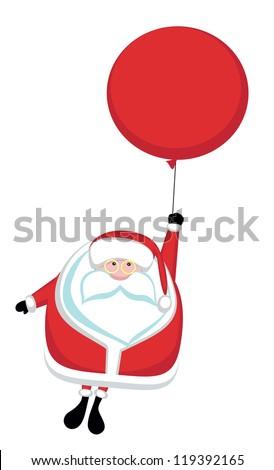 Cartoon Santa flying on red balloon - stock vector
