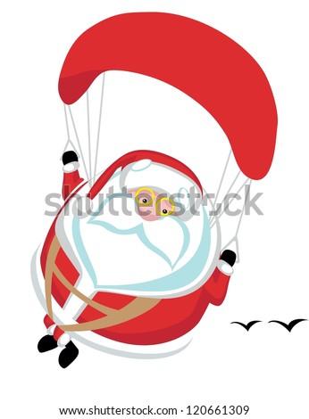 Cartoon  Santa paragliding. Separate layers - stock vector