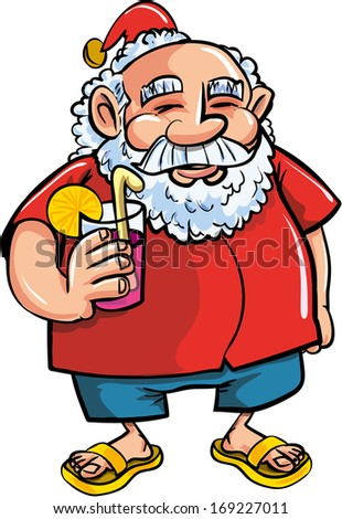 Cartoon Santa relaxing with a cocktail. Isolated on white - stock vector